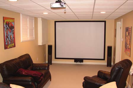 The home theater of financial coach Hugh Rawling